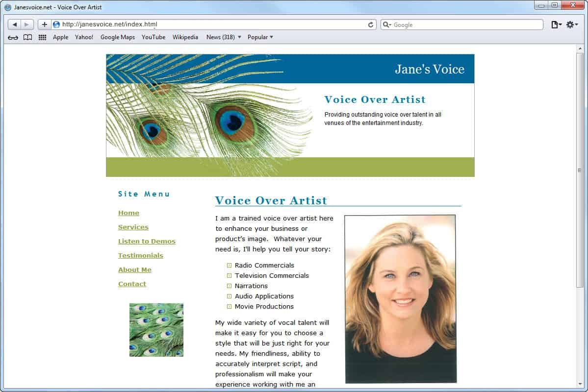 Website Design for Jane's Voice, Voice Over Artist, Homepage