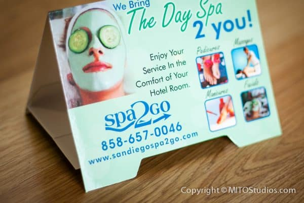Apparel & Promotional Design for Spa2Go, Table Tent Cards