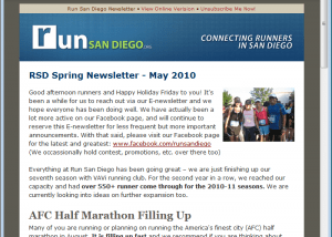 E-Newsletter For Run San Diego