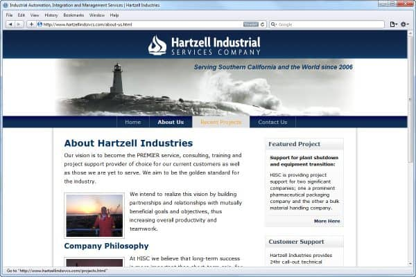 Website Design for Hartzell Industries, About Us