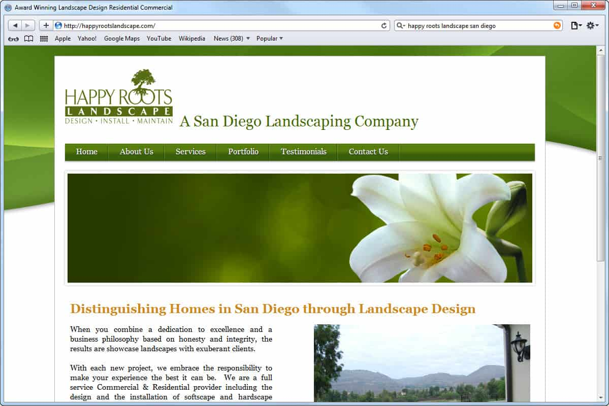 Website development happy roots landscaping mito studios Website home image